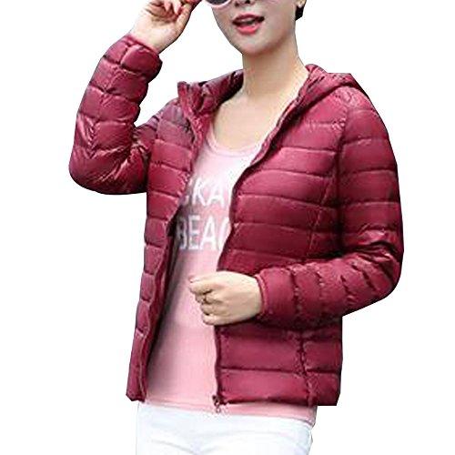 BOZEVON Women's Hooded Packable Ultra Lightweight Short Down Jacket Coat Wine Red