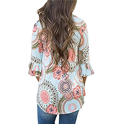 ROVLET Women Casual Floral Print 3 4 Ruffle Detailed Sleeve Tunic Tops Blouses Shirt (S-XXL,6 Colors)