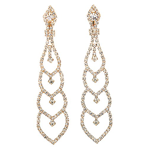 Bridal Wedding Bridesmaids Prom Rhinestone Layer Hearts Chandelier Dangle Drop Clip-on Earrings Gold
