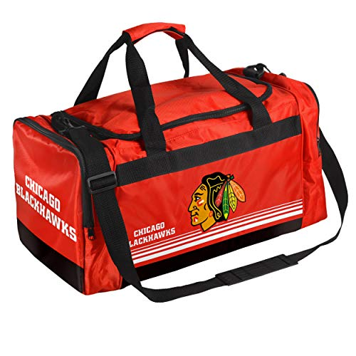Chicago Blackhawks Medium Striped Core Duffle Bag (Renewed) ()
