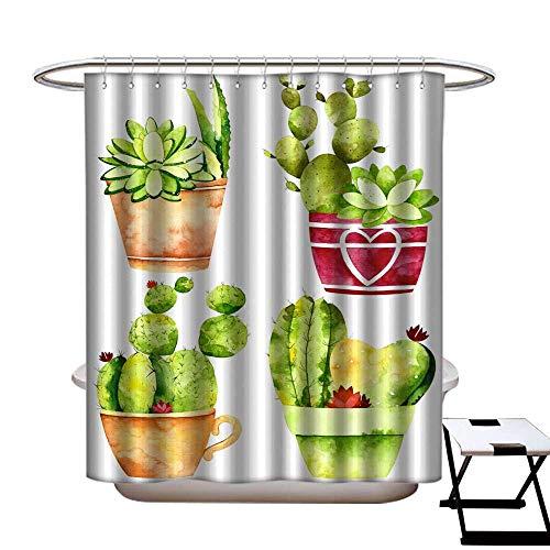 warmfamily Waterproof Bathtub Curtain Mildew Resistant Watercolor Cactus in pots Shower CurtainW69 x L75