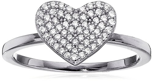 Crislu Simply Pave Platinum Plated Sterling Silver Cubic Zirconia Heart Ring, Size (Crislu Pave Ring)