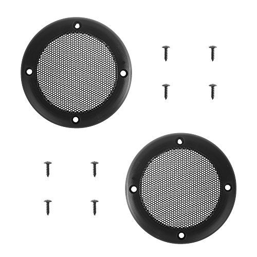 BCP 2pcs Screw Hole C to C 3-1/2inches Black Color Mesh Speaker Decorative Circle Subwoofer Grill Cover Guard Protector, Screw is Included