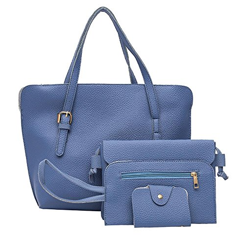 Card PU Bag Handbag Women Fashion Color 4pcs Domybest Blue Solid Clutch Bag Shoulder Set zxqFRPnwnY