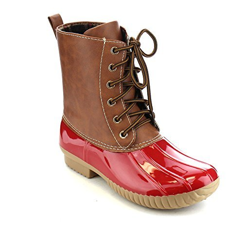 AXNY Dylan Women's Lace Up Two Tone Calf Rain Duck Boots Run Half Size Small, Color:RED, Size:9
