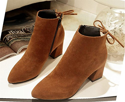 Cashmere Warm Fall Black Plus Suede Winter BROWN Bow Short Party Rough Boots Brown Women's tie Work NVXIE EUR37UK455 Heel PxYOXX