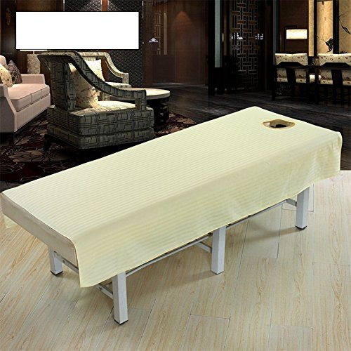 ETbotu Beauty Salon Body Spa Massage Table Cloth Bed Cover Sheet with Face Hole Cotton Fashion Pure Color Cream Color