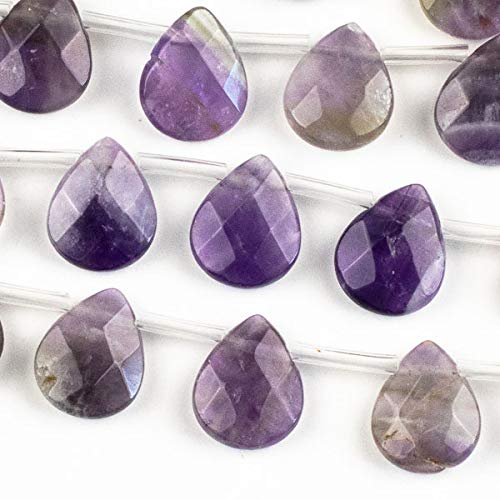 Cherry Blossom Beads Amethyst Faceted 12x15mm Top Drilled Teardrop - 8 inch Strand