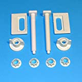 2 Toilet Seat White Hinges A8 Full Set Easy Fitting Bath Bathroom Repair Kit by Toilet Hinges/Screws