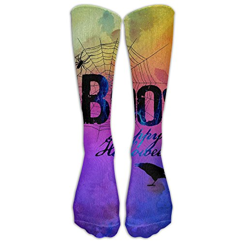 Boo Happy Halloween Free Printable Compression Socks Soccer Socks Knee High Socks Long Stockings For Running,Jogging,Cross Training,Workouts,Basketball,Hiking,Tennis,Cycling,Relief
