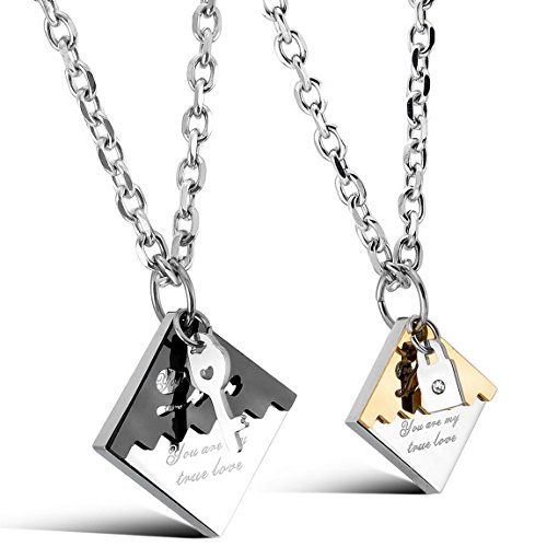 INBLUE Men,Women's 2 PCS Stainless Steel Pendant Necklace CZ Black Gold Silver Two Tone Key Lock Valentine Couple Love His & Hers Set -with 20 and 23 inch (Lock And Key Costume)