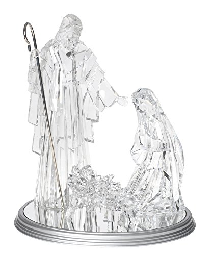 LARGE 16 X 9 Inch Base, LED LIGHTED Holy Family on Base Christmas Nativity Set with Jesus, Mary and Joseph, 4 Pieces, by Raz