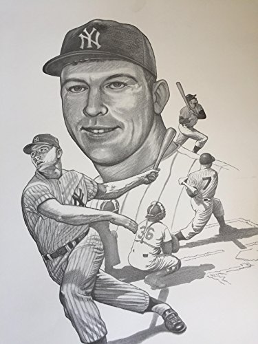 (Rare Mickey Mantle Print New York Yankees 18x30)