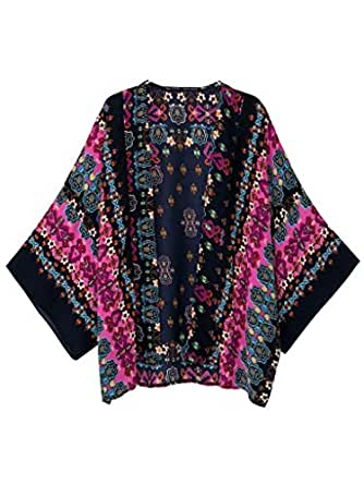 Persun Women Black Vintage Floral Bat Sleeve Chiffon Loose Kimono Coat,Medium