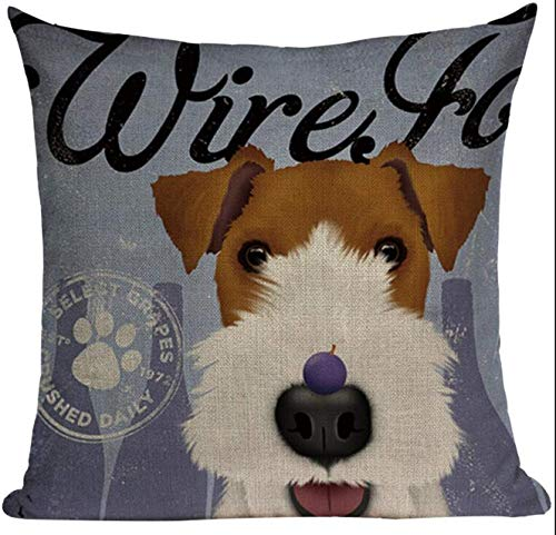 Fox Terrier Jewelry Wire - Lil Pepper Wire Fox Terrier DOG1 Pillow Cover Dog Throw Decorative Sofa Home