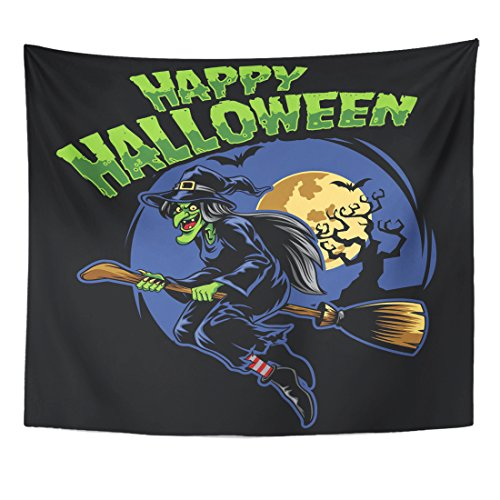 TOMPOP Tapestry Candy Halloween Witch and Flying Broom Cartoon Celebration Character Home Decor Wall Hanging for Living Room Bedroom Dorm 50x60 Inches
