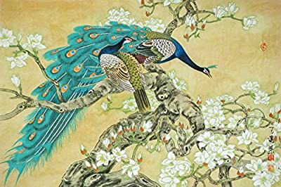 Peacocks rest in magnolia tree Oil Painting Reprodution. Based on Famous Traditional Chinese Realistic Painting. (Unframed and Unstretched).