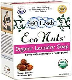 Eco Nuts Organic Laundry Detergent for Cloth Diapers and Formula Stains, 20.5 Ounces for 360 Loads