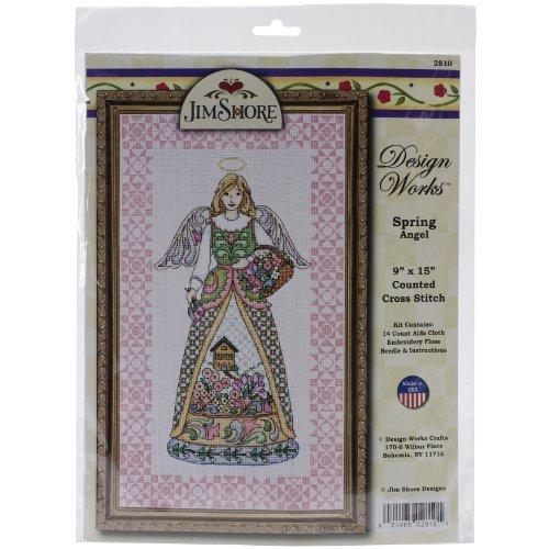Tobin DW2810 14 Count Counted Cross Stitch Kit, 9 by 15-Inch, Spring Angel-Jim Shore ()