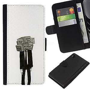 EJOY---La carpeta del tirón la caja de cuero de alta calidad de la PU Caso protector / Sony Xperia Z2 D6502 / --Máscara Significado Profundo Depresión Traje