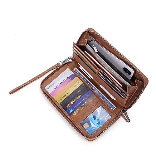 (Anvesino Women's RFID Blocking Wallet Real Leather Zip Around Clutch Large Travel Purse Wrist Strap(Brown))