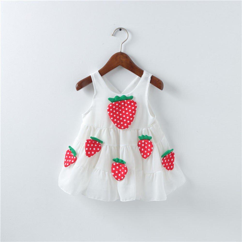 INLLADDY Kleidung Kleid Baby Madchen Dreidimensionale Erdbeere Applique /ärmellose Prinzessin Kleid L/ässig S/ü/ßen Strand Kleider