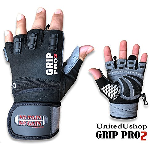UnitedUshop 2018 Grip PRO 2 Double Stitch Workout Gloves with Wrist Support for Lifting Weights, Crossfit, Weightlifting, Bodybuilding & Strength Training. Best Workout Gloves for Men & Women