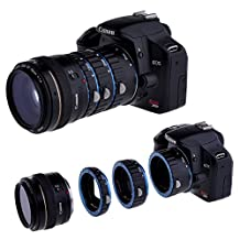 Neewer Macro AF Auto Focus Extension Tube Set 13-21-31mm Blue Bayonet and Black Body for Canon DSLR SLR Camera Canon EOS 1D C, 1D X, 1D Mark I-IV, I-1Ds Mark III, 5D Mark I-III, 6D 7D 60D 50D 40D 30D 20D 10D 1100D 1000D 650D 600D 550D 500D 450D 400D 350D 300D