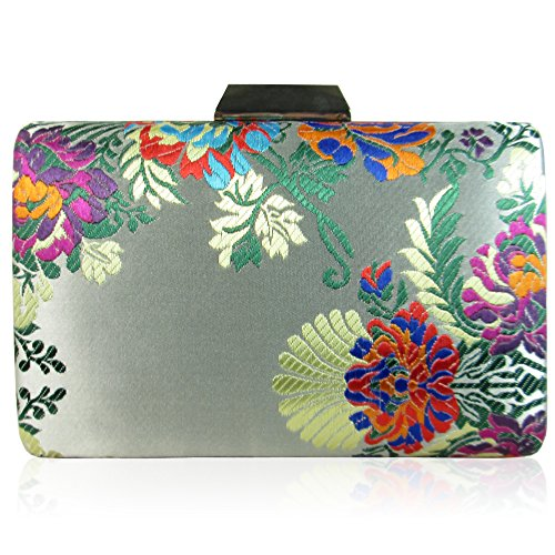 Party London Xardi Satin Clutch Floral Hard Minaudiere Embroidered Bag Bridal Compact Women Boxy Silver Wedding Evening Medium SOwdwf