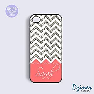 Monogram iPhone 5c Case - White Silver Glitter Coral Pattern iPhone Cover (NOT A REAL GLITTERS) by Maris's Diary