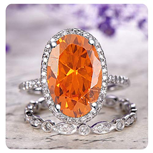 RUDRAFASHION 2.10 Ctw Oval Cut Created Orange Sapphire & White Diamond 14k White Gold Over .925 Sterling Silver Engagement Halo Bridal Ring Set for Women's