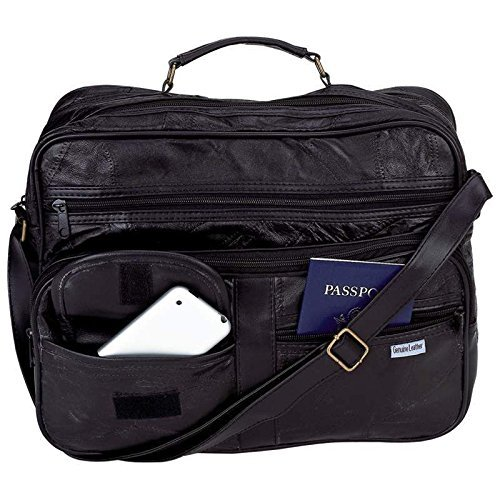 New Mens Black Leather Briefcase Attache Tote Shoulder Bag Carry On Case Satchel from Embassy