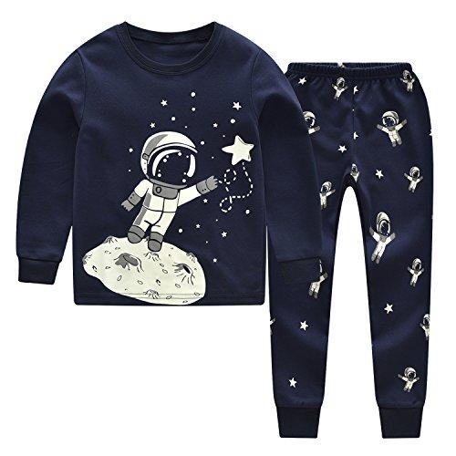 CNBABY Little Boys Sleepwears Set Pajamas Glow-in-The-Dark 100% Cotton Clothes Toddler -