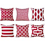 Top Finel Decorative Throw Pillow Cover Set Soft Microfiber Outdoor Cushion Covers 16 X 16 for Couch Bedroom Car, Pack of 6, Burgundy