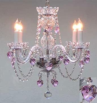 CRYSTAL CHANDELIER LIGHTING WITH PINK CRYSTAL HEARTS H17 X W17