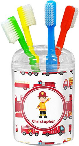 RNK Shops Firetrucks Toothbrush Holder (Personalized)