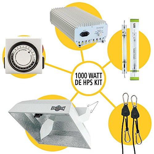 Sun System Grow Light Kits - DE HPS Boss Reflector Kit | 1000W HPS DE Lamp | Sun System 1 DE 1000W Ballast | Two Outlet Timer | Light Hanger ()