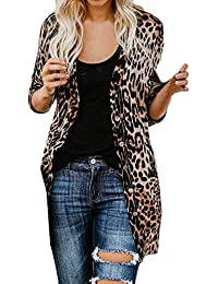 KFSO Women's Leopard Print Long Sleeve Open Front Button Cardigan Longline Duster Coat