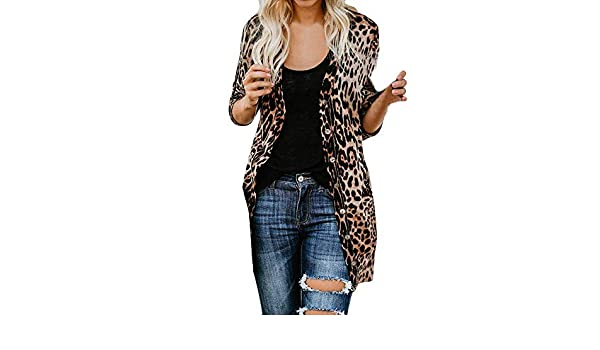 Amazon.com: Clearance Sale! Joint Womens Cardigan Long Sleeve Leopard Print Fashion Coat Blouse T-Shirt Tank Tops (Large, Brown)