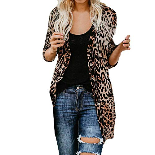 KFSO Women's Leopard Print Long Sleeve Open Front Button Cardigan Longline Duster Coat (Brown, (Leopard Print Trench)