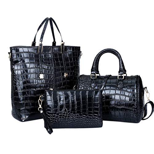 3pcs Womens Alligator Bag, Shopping Daily Satchels Handbag Leather Shoulder Messenger Bag Cosmetic Phone Coin Purse Clutch (Black)