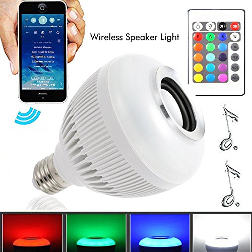 Wireless 12W Power E27 LED rgb Bluetooth Speaker Bulb Light Lamp - 5