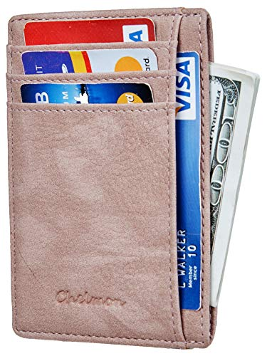 - Chelmon Slim Wallet RFID Front Pocket Wallet Minimalist Secure Thin Credit Card Holder (Vinti Pink Champagne)