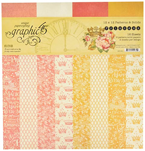 Graphic 45 4501801 Princess 12x12 Patterns & Solid Pad Craft Paper, Multi