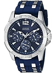 GUESS Mens Stainless Steel Casual Silicone Watch, Color: Silver-Tone/Navy Blue (Model: U0366G2)