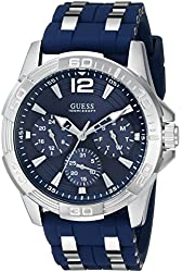 GUESS Men's U0366G2 Iconic Multi-Function Silver-Tone Watch with Blue Silicone Strap