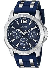 Mens Stainless Steel Casual Silicone Watch, Color: Silver-Tone/Navy Blue (