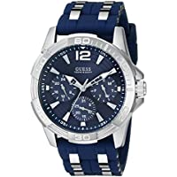 GUESS Men's Stainless Steel Casual Silicone Watch, Color: Silver-Tone/Navy Blue (Model: U0366G2)