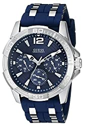 GUESS Men's U0366G2 Sporty Silver-Tone Stainless Steel Watch with Multi-function Dial and Blue Strap Buckle