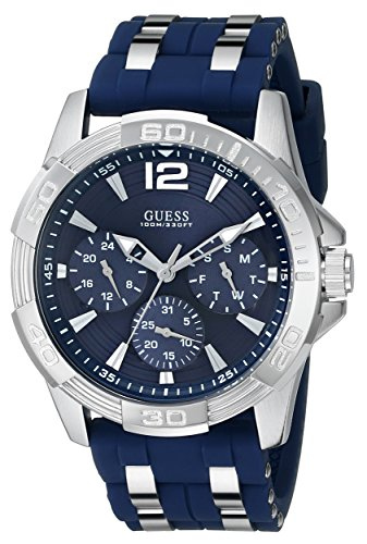 GUESS Men's U0366G2 Sporty Silver-Tone Stainless Steel Watch with Multi-function Dial and Blue Strap Buckle (Guess Steel Watch)